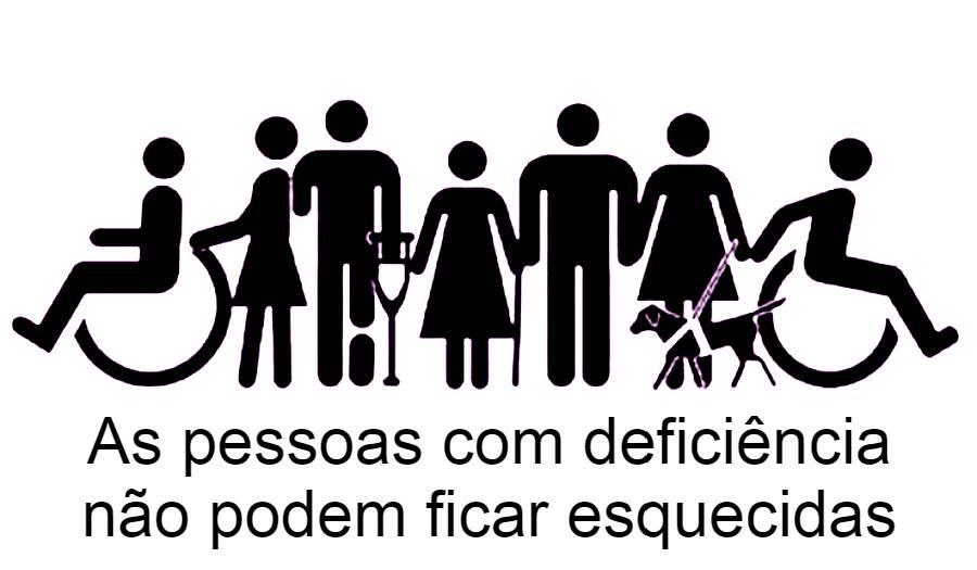 Bonecos feitos com traços simples a representar a diversidade. Tem um em cadeira de rodas com a sua assistente pessoal, uma pessoa com uma muleta e prótese, uma mulher, um homem de bengala, uma mulher com um cão e outra pessoa em cadeira de rodas.