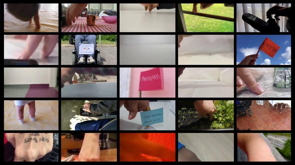 Mosaico de 25 imagens de pessoas a mexer dois dedos como se fosse as pernas de um bonequinho a andar.