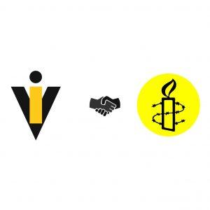 Fundo branco. Centrado verticalmente e posicionado à esquerda está o logótipo do CVI. Alinhado com este, do lado direit, está o logótipo da Amnistia Internacional. Entre os dois está um grafismo de um aperto de mão a cinzento muito escuro e preto.