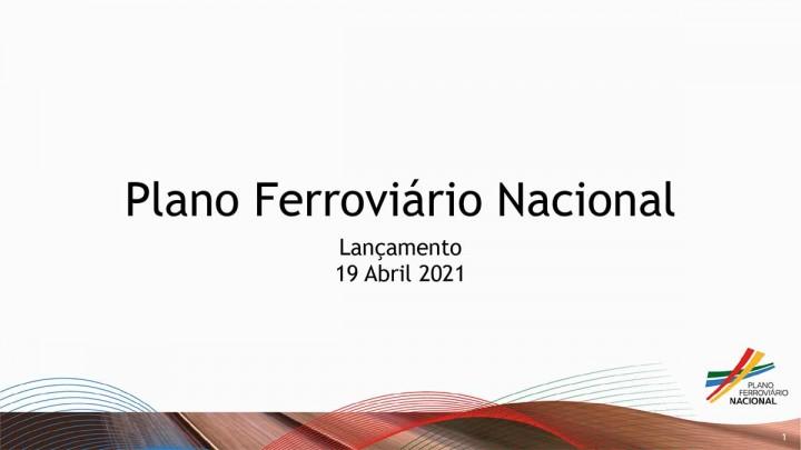 """Imagem rectangular branca a dizer """"Plano Ferroviário Nacional"""" como título, abaixo """"Lançamento 19 de Abril de 2021"""", o logo no canto direito e uma barra de várias cores, em traços curvos"""